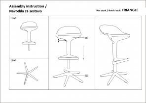 Barski stol Triangle črn