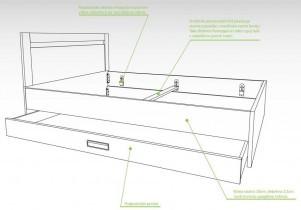 Postelja Bridge s predalom - 160x190 cm
