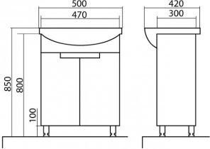Omarica z umivalnikom Quadro - 50 cm talna