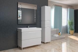 Omara za kopalnico Venice bela - 40 cm talna
