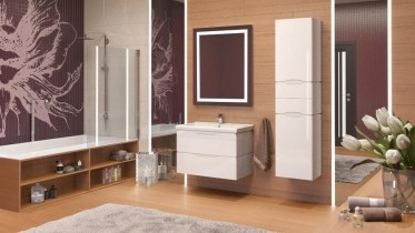 Omara za kopalnico Venice bela stenska