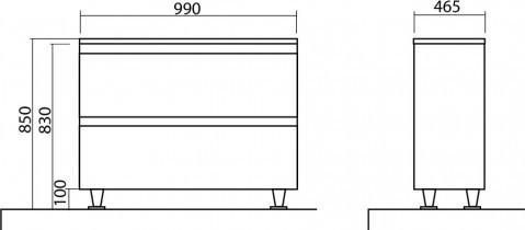 Omarica z umivalnikom Akcent - 100 cm kostanj talna