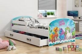 Otroška postelja Luki - 80x160 cm bela pony