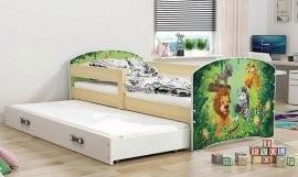 Otroška postelja Luki z dodatnim ležiščem  - 80x160 cm - barva bor