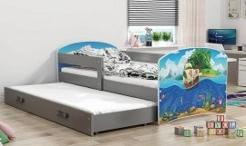 Otroška postelja Luki z dodatnim ležiščem  - 80x160 cm - barva grafit