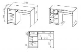 Pisalna miza Drop 14 - metalik siva