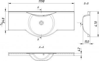 Kopalniški umivalnik Antonio 1200
