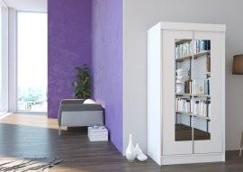 Garderobna omara z drsnimi vrati Boston mat bela ali hrast sonoma 100x200x62 cm