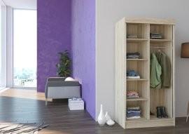 Garderobna omara z drsnimi vrati Nevada mat bela ali hrast sonoma 100x200x62 cm
