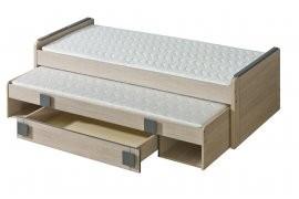 Postelja Gumi G16 z dodatnim ležiščem  - Hrast/siva - 80x200 cm