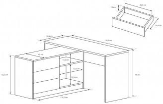 Pisalna miza Teo - bela