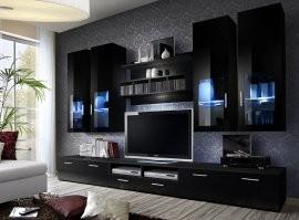 RTV regal Mini 200 cm - LED - Črna
