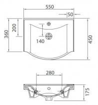 Umivalnik Basic 55