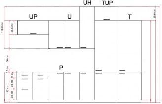 Modul Luna lignum bianco - UO 60/2 - zgornja omarica s polico