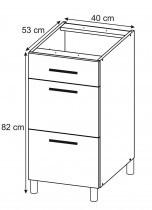 Modul Luna white - PSZ 40/3 - spodnja omarica s tremi predali