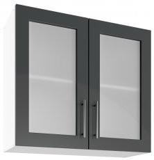 Modul Luna graphite - UOW 80/2 - zgornja steklena omarica s polico