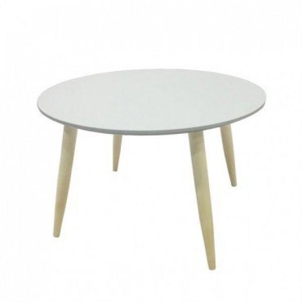 Klubska miza Manon okrogla bela