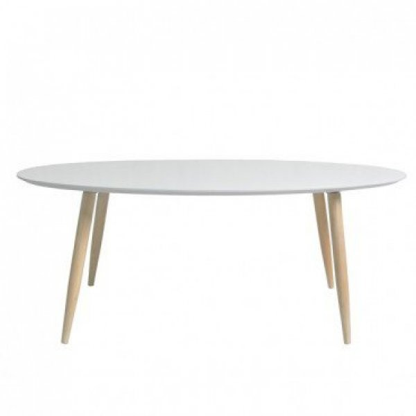 Klubska miza Manon ovalna bela