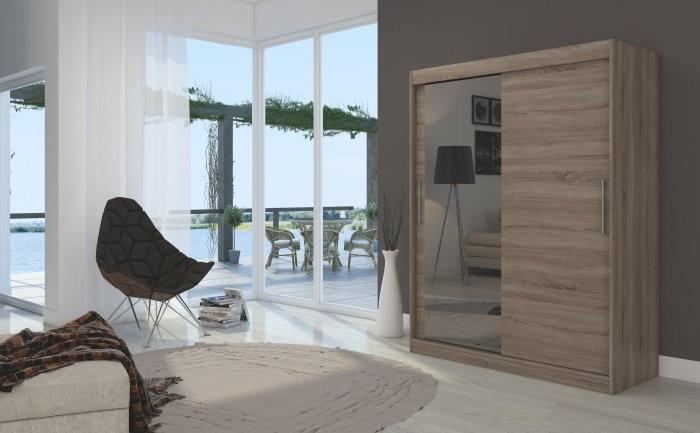 Garderobna omara z drsnimi vrati Bianco 150x200x58 cm