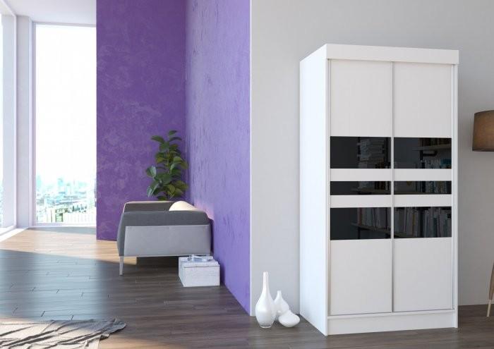 Garderobna omara z drsnimi vrati California mat bela ali hrast sonoma 100x200x62 cm