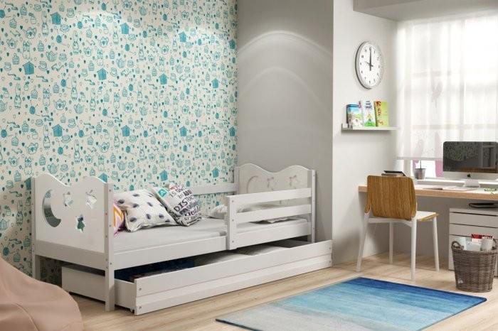 Otroška postelja Miko - 90x200 cm bela-bela