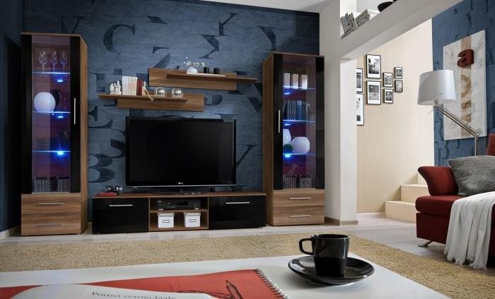 Dnevni RTV regal Galino E 180 cm - LED - LED - sliva mat/sliva mat + črna sijaj