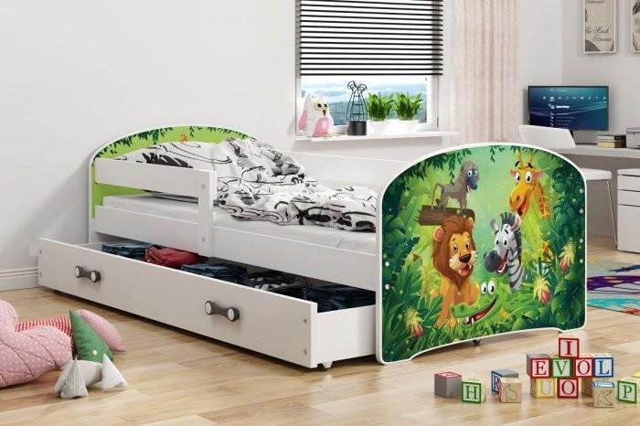 Otroška postelja Luki - 80x160 cm - bela jungle