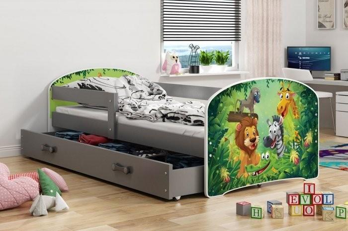 Otroška postelja Luki - 80x160 cm grafit pony