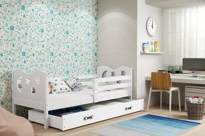 Otroška postelja Miko 90x200 cm - bela-bela