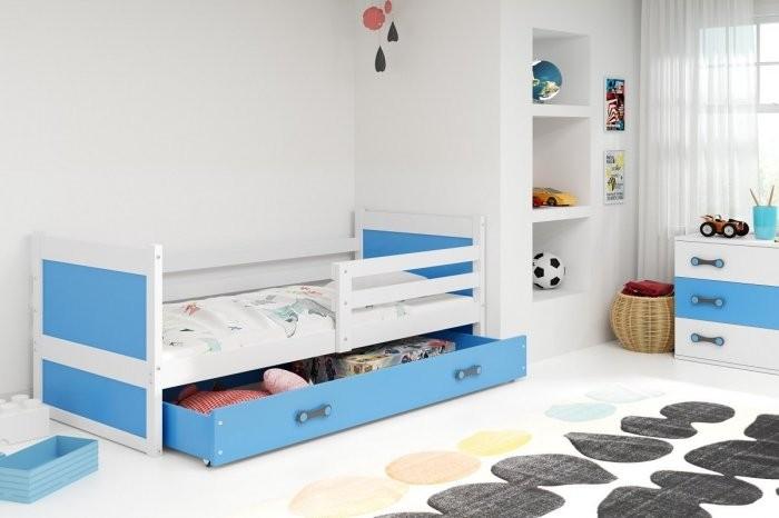 Otroška postelja Rico - 90x200 cm - bela-modra