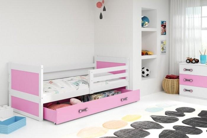 Otroška postelja Rico - 90x200 cm - bela-roza