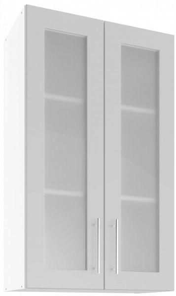 Modul Luna light grey - UHOW 60/2 - zgornja steklena omarica z dvema policama