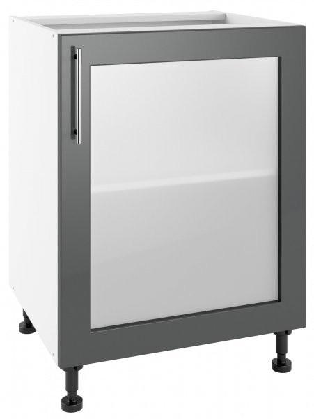 Modul Luna graphite - POW 60 - spodnja steklena omarica s polico