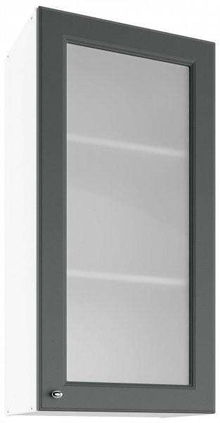 Modul Bella graphite super mat - UHOW 50 - zgornja steklena omarica z dvema policama