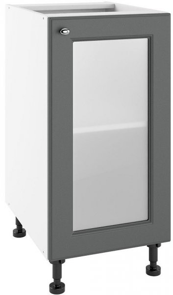 Modul Bella graphite super mat - POW 40 - spodnja steklena omarica s polico