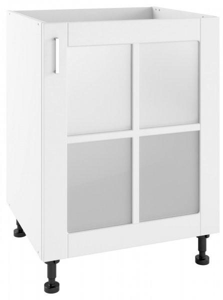 Modul Milano bianco super mat - POWS 60 - spodnja steklena omarica s polico