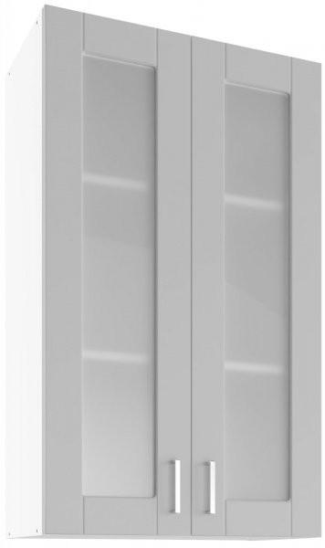 Modul Milano nube super mat - UHOW 60/2 - zgornja steklena omarica z dvema policama
