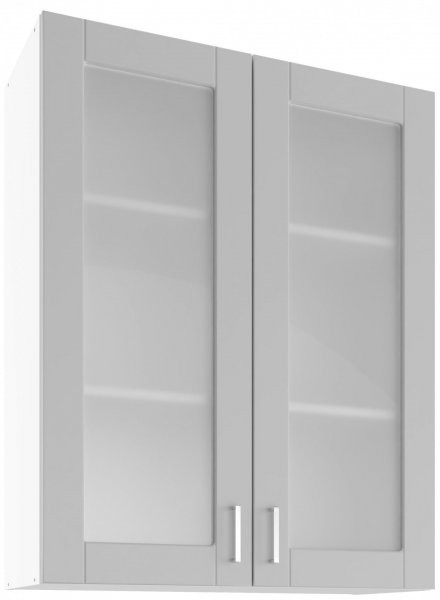 Modul Milano nube super mat - UHOW 80/2 - zgornja steklena omarica z dvema policama