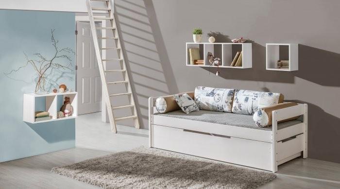 Postelja Borys - 90x200 cm - barva bor - predal za posteljnino
