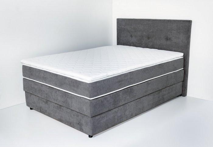 Boxspring postelja Como 140x200 cm - temno siva