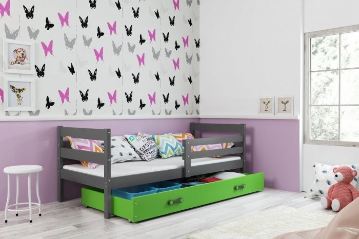 Otroška postelja Eryk - 90x200 cm - Graphite-zelena - zadnji kos