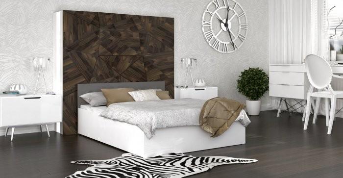 Postelja Panama - 140x200 cm bela-siva