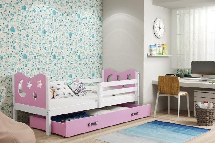 Otroška postelja Miko - 90x200 cm - bela+roza